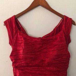 Alex Evening Red Off Shoulder Dress
